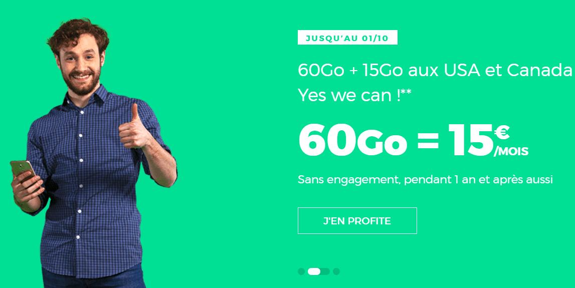 🔥 Prolongation : forfait 4G International 60 Go pour 15 euros par mois à vie chez RED SFR