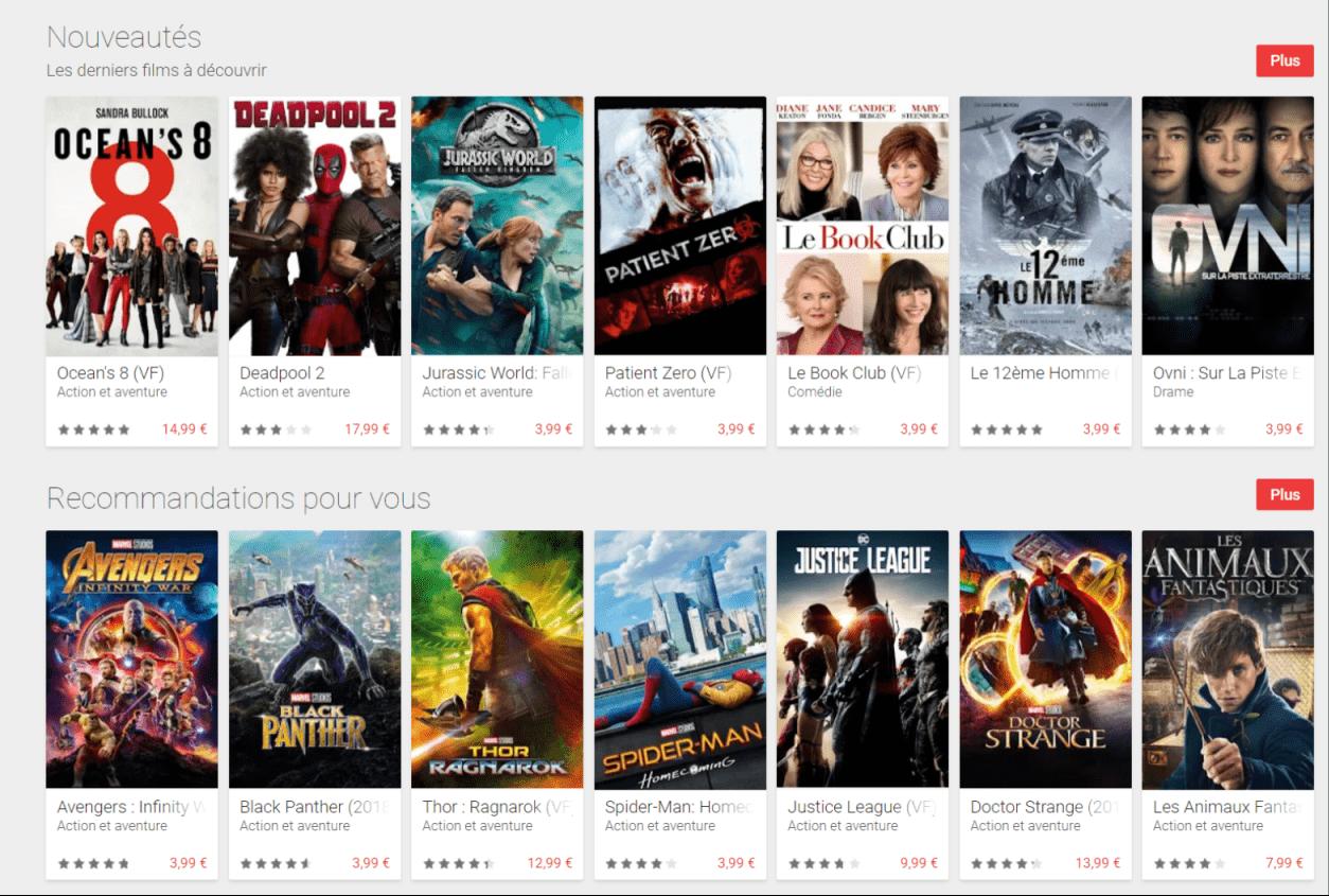 Pour contrer Apple, Google proposerait la 4K gratuitement sur les films déjà achetés sur Play Films