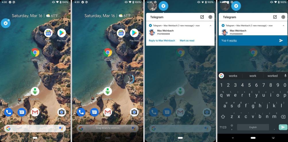 Android Q : tous les services de messagerie pourraient profiter de bulles comme Messenger