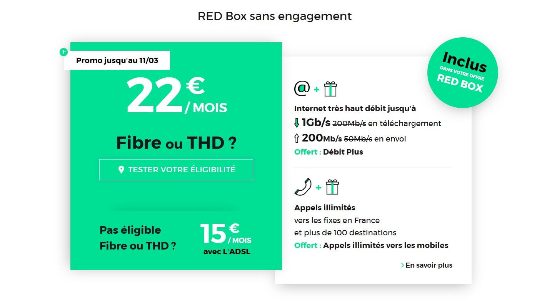 🔥 Bon plan : la RED Box à 22 euros par mois à vie avec les options débit plus (jusqu'à 1 Gb/s) et appels illimités vers les mobiles