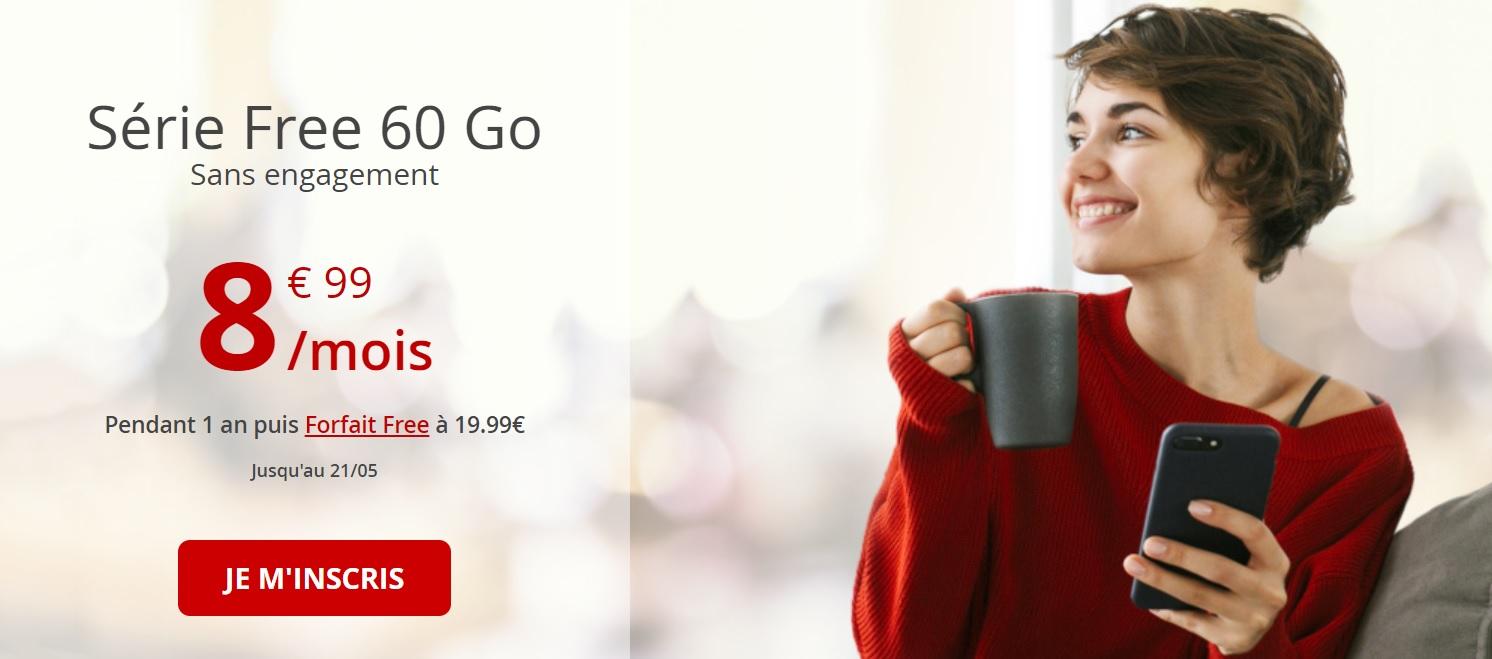 🔥 Forfait mobile : Free relance sa série limitée à 8,99 euros par mois avec 60 Go de données 4G