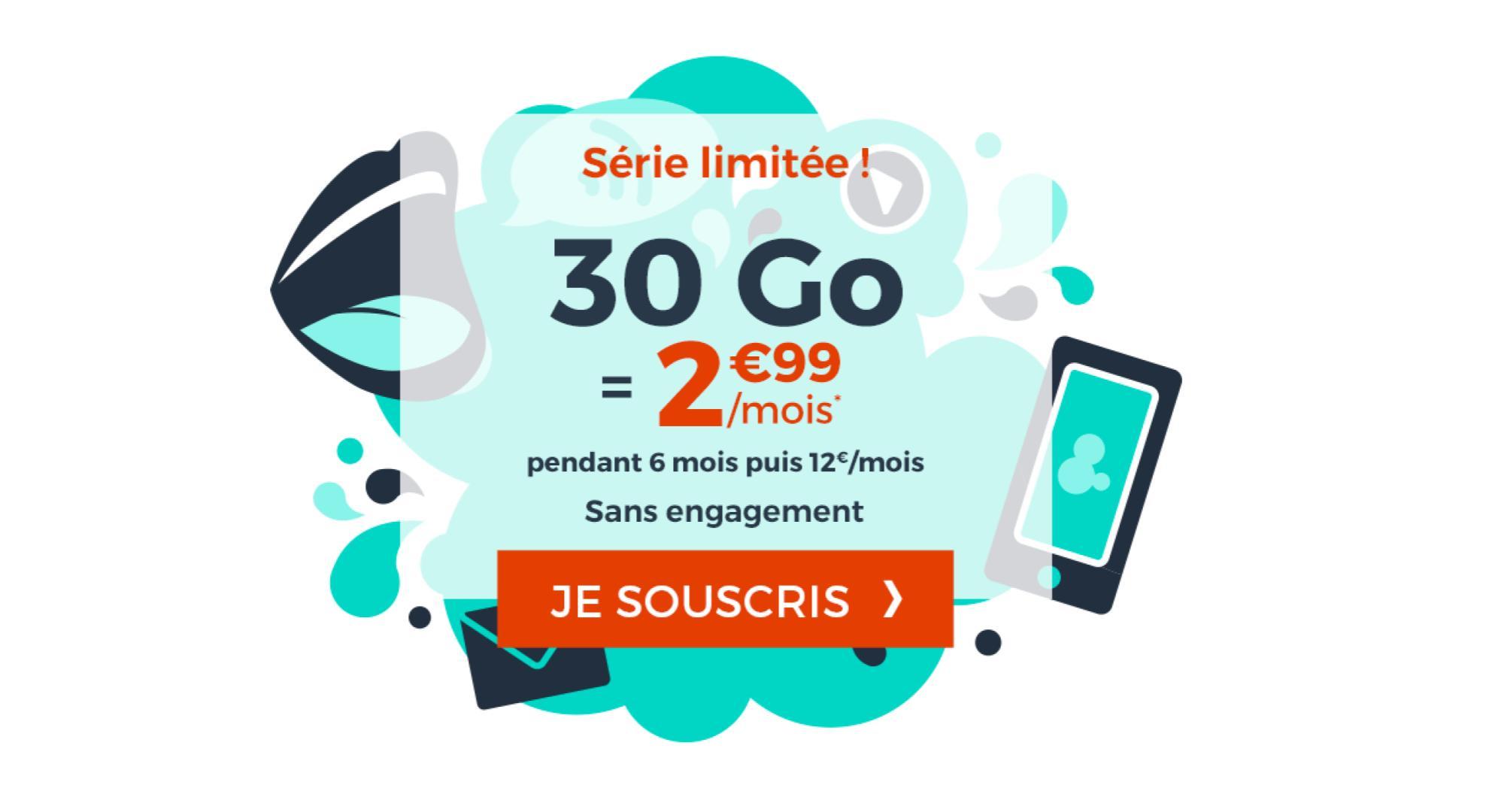 🔥 Bon plan : le forfait mobile 30 Go est à 2,99 euros par mois pendant 6 mois