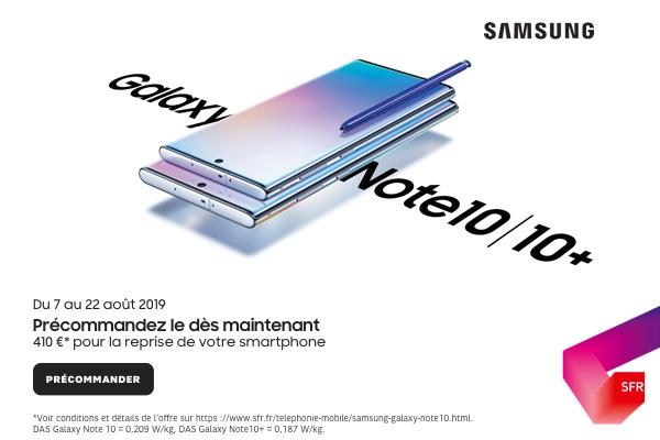 Économisez près de 200 euros sur l'achat des Galaxy Note 10 avec SFR