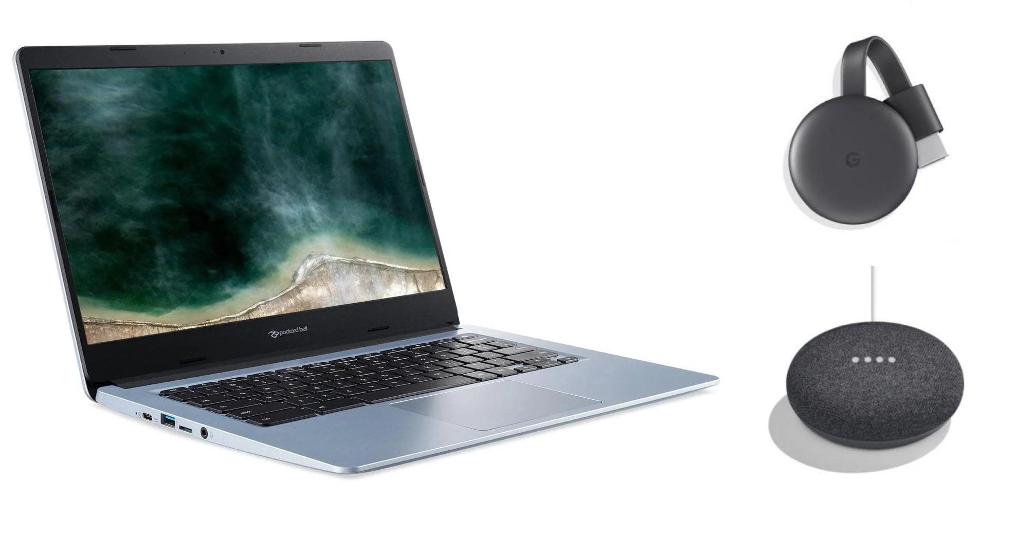 Trio Google : Chromebook + Chromecast + Google Home Mini, 299 euros