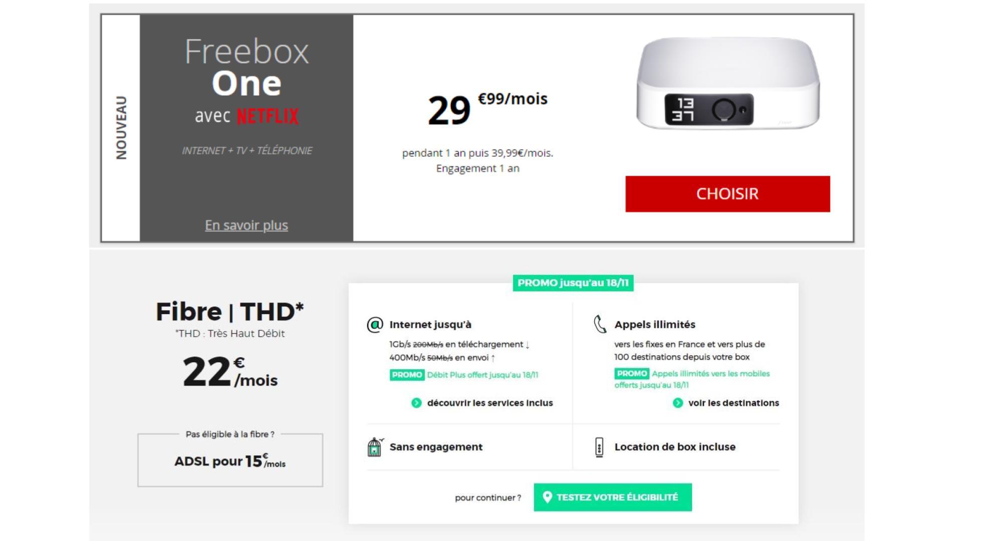 Box RED ou Freebox One : quelle est la meilleure offre à 1 Gb/s ?