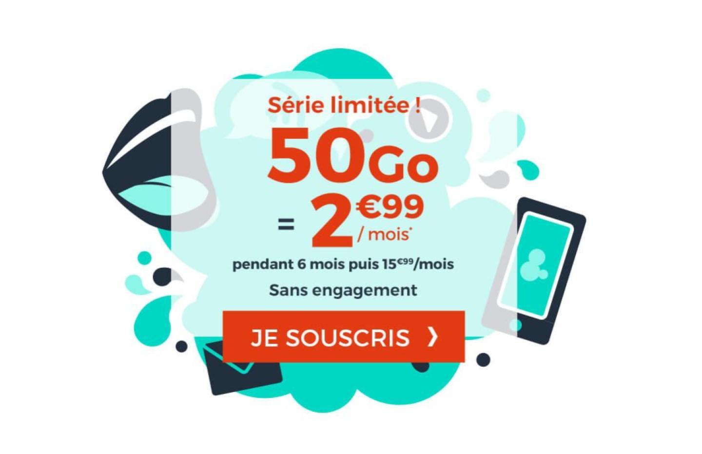 50 Go de 4G pour 2,99 euros par mois avec ce forfait mobile