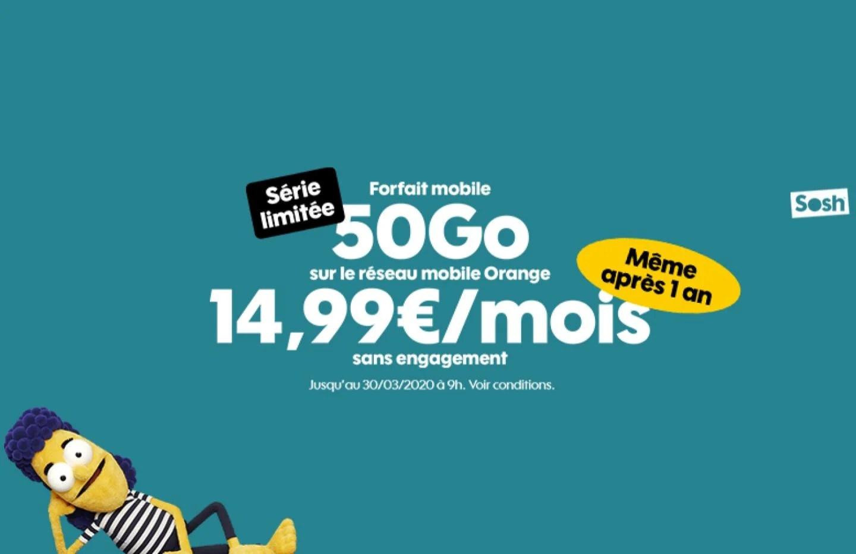 Forfait mobile : Sosh 50 Go à 14,99 euros par mois, même après un an