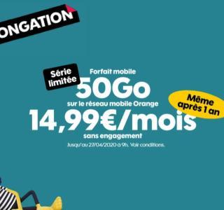Sosh joue les prolongations avec son forfait mobile 50 Go à 14,99 euros par mois