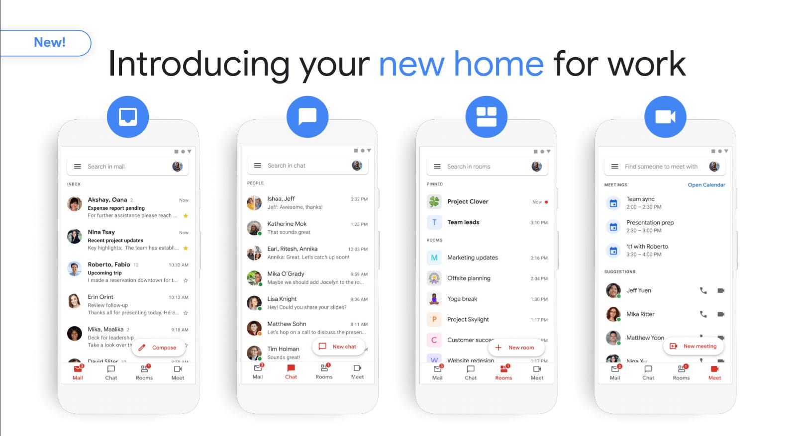 Google prépare une refonte de Gmail autour de Google Docs, Meet et Rooms