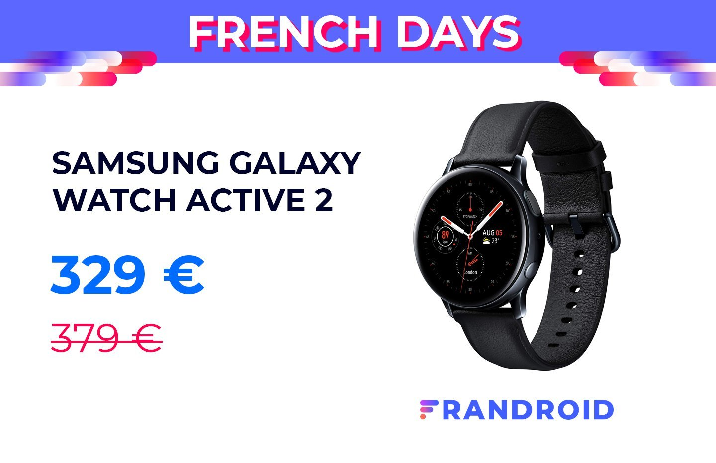 L'élégante Samsung Galaxy Watch 2 Active profite de 50 euros de réduction