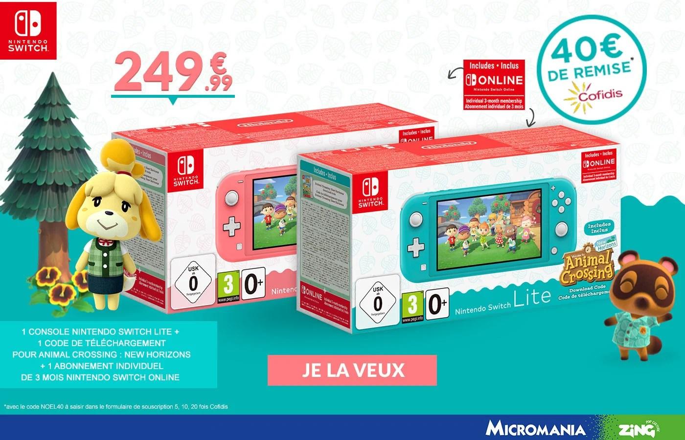 Switch Lite: un pack avec Animal Crossing en promo chez Micromania