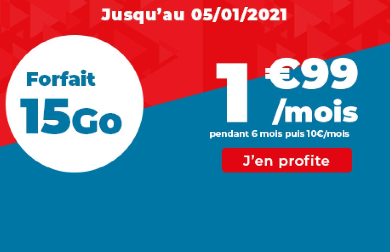 Ce forfait mobile 15 Go est à 1,99 €/mois, jusqu'à aujourd'hui seulement