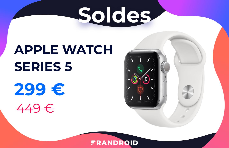 Pour les soldes, l'Apple Watch Series 5 passe pour la première fois sous les 300 €