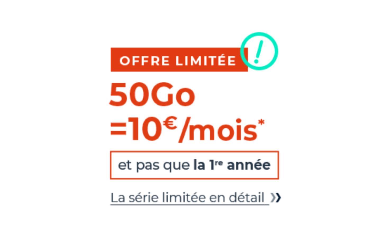 Ce forfait mobile 50 Go est à 10 €/mois et pas que la première année