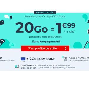 Ce forfait mobile 20 Go est l'offre sans engagement la moins chère du moment