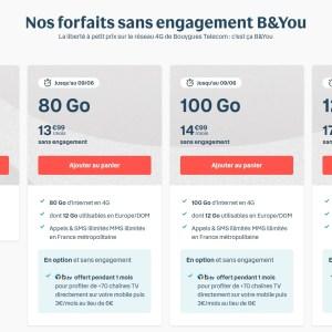Bouygues Telecom met à jour son catalogue des forfaits mobile B&You