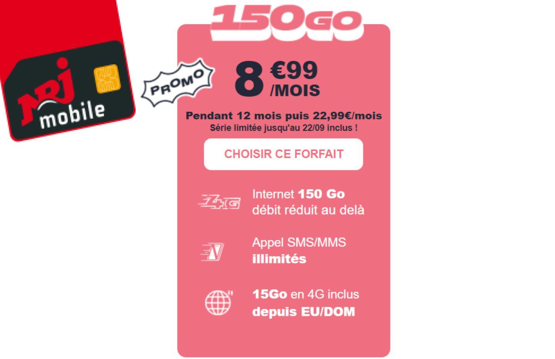 Ce forfait mobile ne lésine pas sur l'enveloppe de data : 150 Go pour 8,99 €/mois