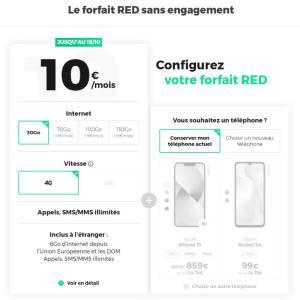 RED propose un meilleur forfait à 10€ que B&You grâce à 20Go de plus