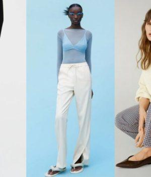 Pantalon taille haute fendu à motif pied-de-poule, Zara, 5,95 € ; jogging fendu, Zara, 29,95 € ; pantalon imprimé fendu grande taille, Violeta by Mango, 59,99 €.