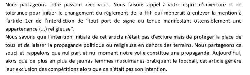 Extrait de la lettre ouverte des Hijabeuses au président de la Fédération Française de Football