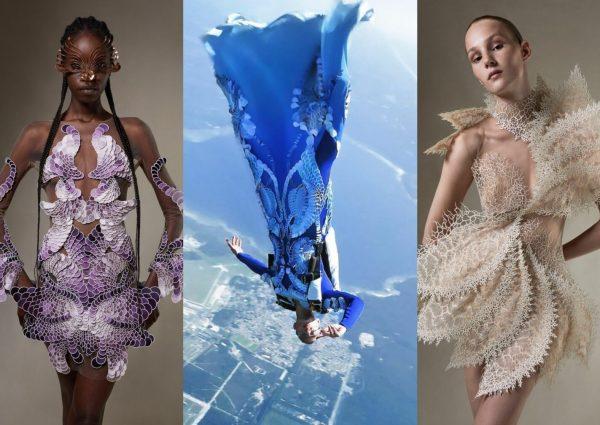 Cette parachutiste saute dans une robe haute couture Iris van Herpen, et c'est vertigineusement beau !