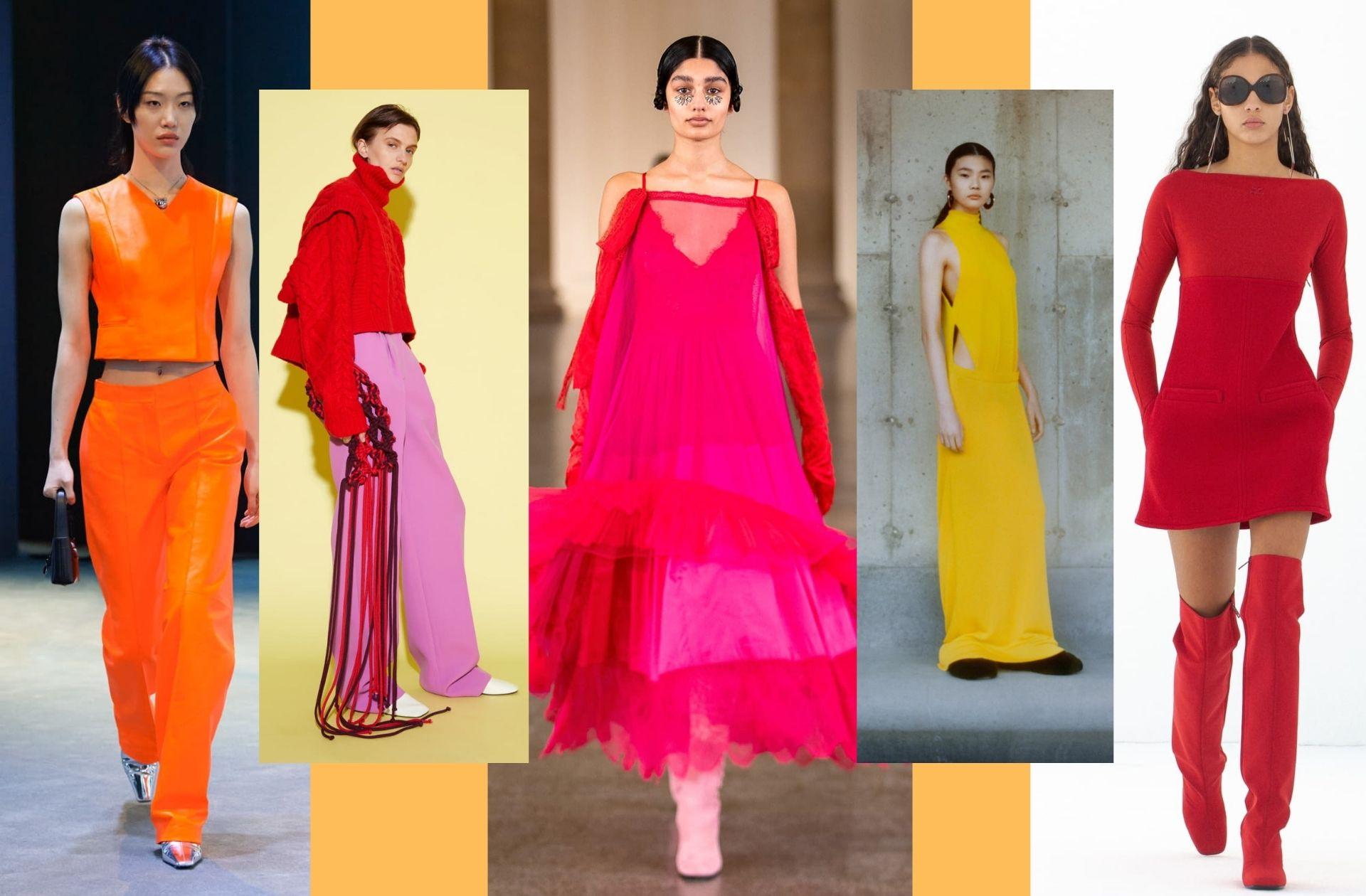 La palette de couleurs chaudes optimistes aperçue chez Salvatore Ferragamo, Aknvas, Bora Aksu, Proenza Schouler, ou encore Courrèges.
