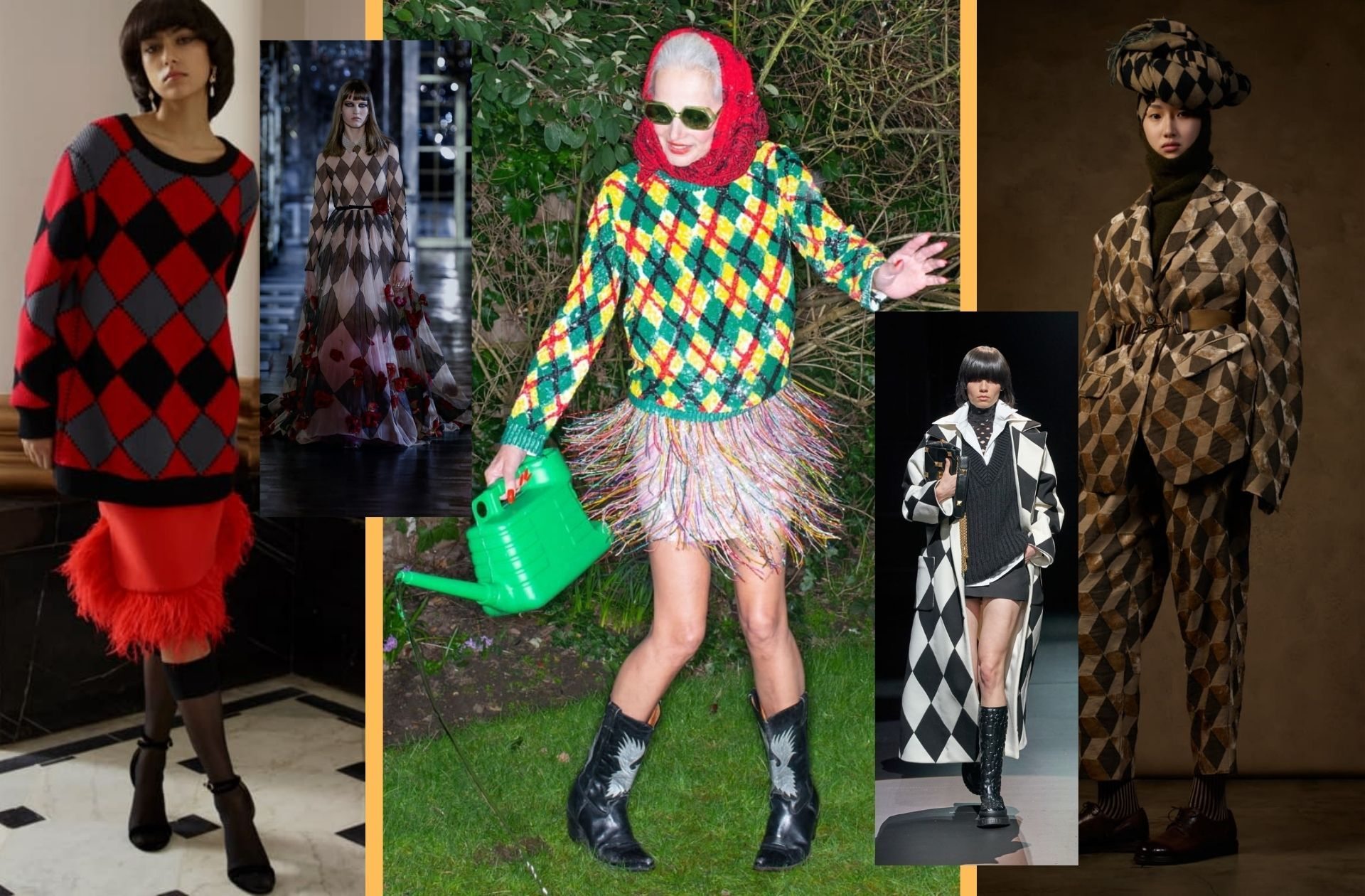 Les losanges et damiers aperçus chez Huishan Zhang, Christian Dior, Ashish, Valentino, ou encore Uma Wang.