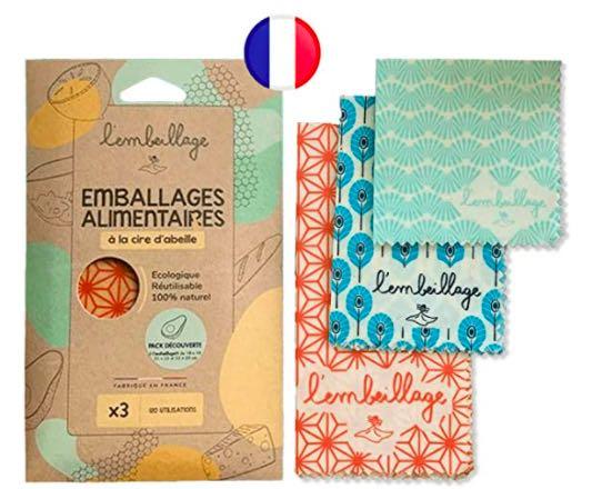 L'Embeillage®, Le Bee Wrap français – Emballage Alimentaire réutilisable en Cire d'Abeille – 14€