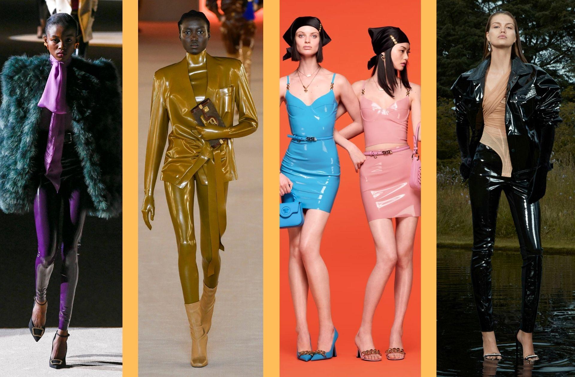 Des propositions en latex aperçues chez Saint Laurent, Balmain, Versace, et David Koma.