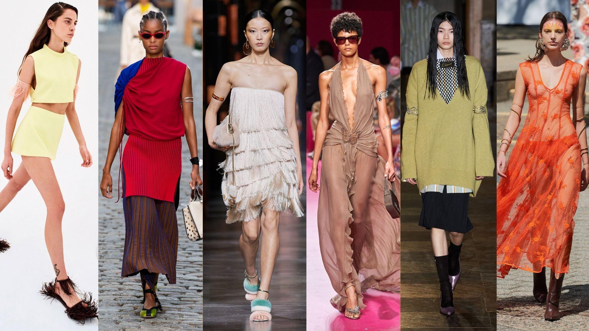 De gauche à droite : Collections printemps-été 2022 Emilio Pucci, Tory Burch, Fendi, Blumarine, Raf Simons, Rodarte