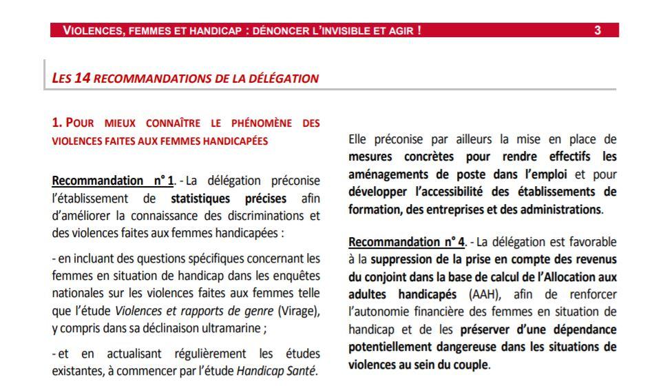 Rapport d'information Violences, femmes et handicap : dénoncer l'invisible et agir de la délégation aux droits des femmes